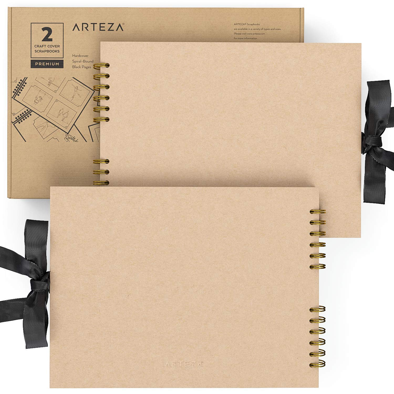 Arteza 8.5x11'' Scrapbook Album Pack of 2, Craft Cover, 40 Black Sheets, Spiral Bound, 250 GSM for DIY, Anniversary, Wedding Guest Book, Travelling, Artwork, Birthday, Holiday Gift