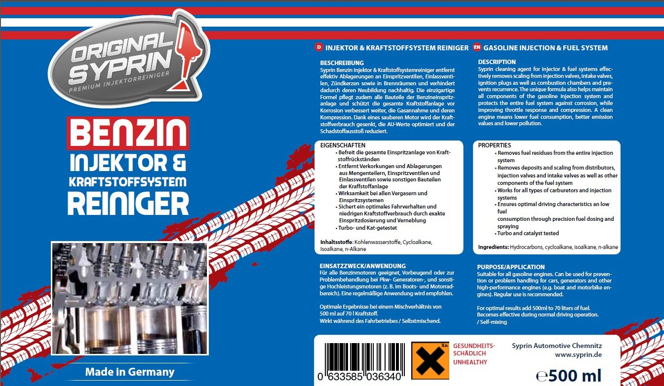 Original syprin de gasolina limpiador de gasolina additiv Gasolina Sistema de additiv Inyector inyectores Uno limpiador de sistema de inyección de gasolina ...