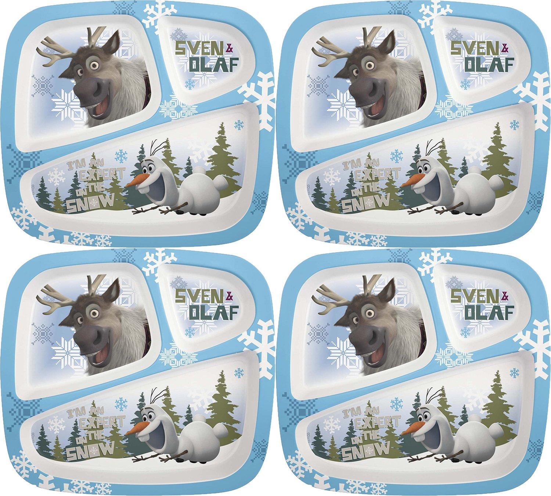 Zak 。Designs 3-sectionプレートfeaturing Olaf & Sven Frozen、壊れにくいから、BPAフリープラスチック  4 Plates B0753WPJ62