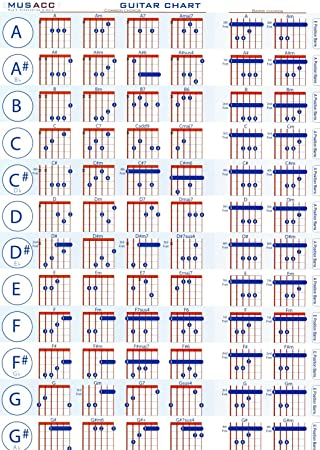 Guitar Chords Fabric Cloth Rolled Wall Poster Print - Size: 32\