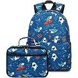 CAMTOP Backpack for Kids, Boys Preschool Backpack with Lunch Box Toddler Kindergarten School Bookbag Set (Y028-2 Shark-Navy B