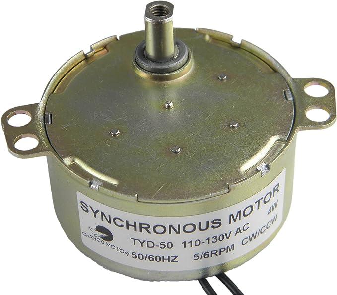 Synchronous Motor TYD-50 110V AC 5-6RPM CW//CCW Torque 6Kg.cm Flush Shaft 4W