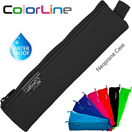 Colorline 59480 - Porta Todo Mini de Neopreno, Estuche Multiuso para Viaje, Material Escolar, Neceser y Accesorios. Color Negro, Medidas 20 x 5 cm: Amazon.es: Oficina y papelería