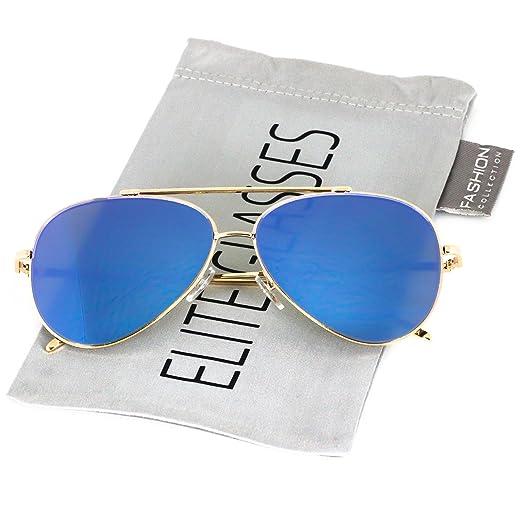73db90be8286 Elite Flat Lens Oversized Aviator Sunglasses Pink Gold Lens Metal Frame  Women Fashion (Blue Mirror