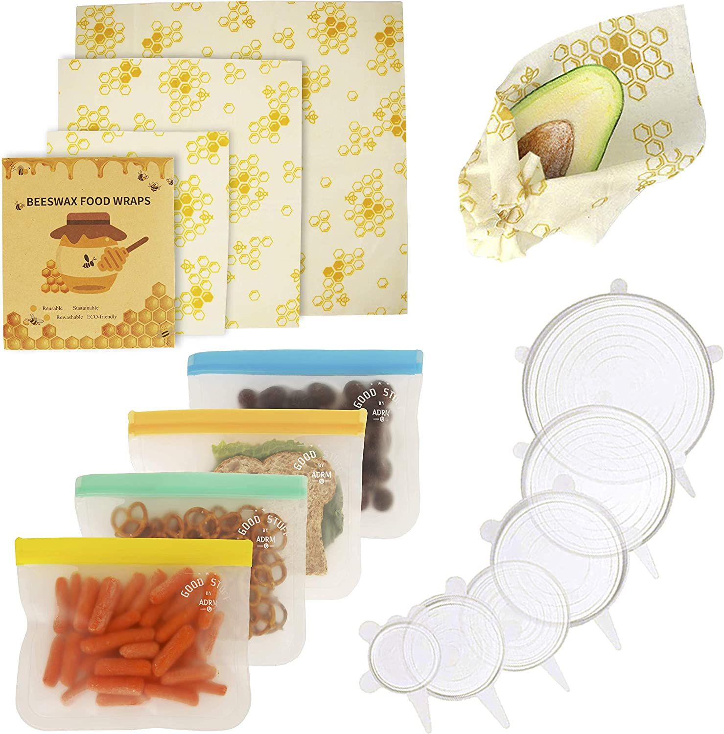 ADRM Good Stuff 3 Beeswax Wraps + 4 Reusable Food Storage Bags + 6 Stronger Silicone Stretch Lids = 1 Nature Friendly Kitchen (13 Pack)