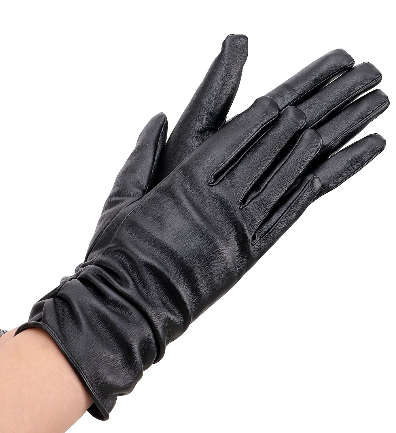 Womens leather gloves vancouver - Simplicity Women S Elegant Warm Long Pu Leather Gloves Black Amazon Ca Clothing Accessories