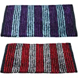 "Story@Home Door Mat Combo Set of 2 for Home, Bathroom, Bedroom, Office, Kitchen & Living Entrances - ECO Series Cotton Blend- 16""x24"" (Machine Washable) - Purple and Red"