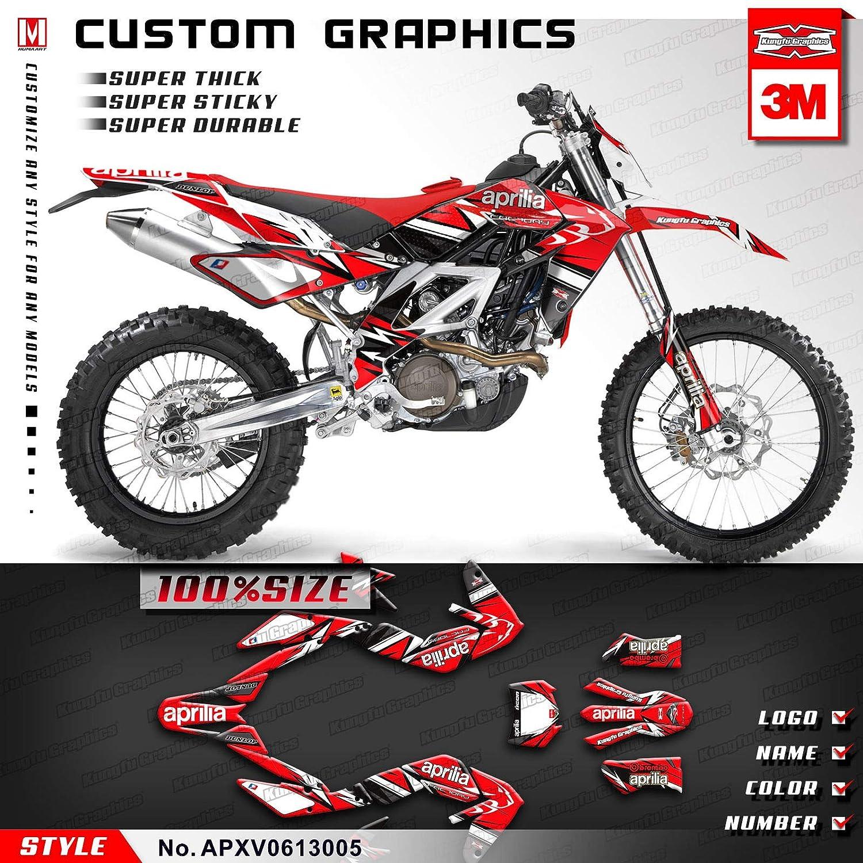 Kungfu Graphics Custom Decal Kit for Aprilia RXV 450 RXV450 RXV 550 RXV550 2008 2009 2010 2011 2012 2013 Red Black APXV0613004
