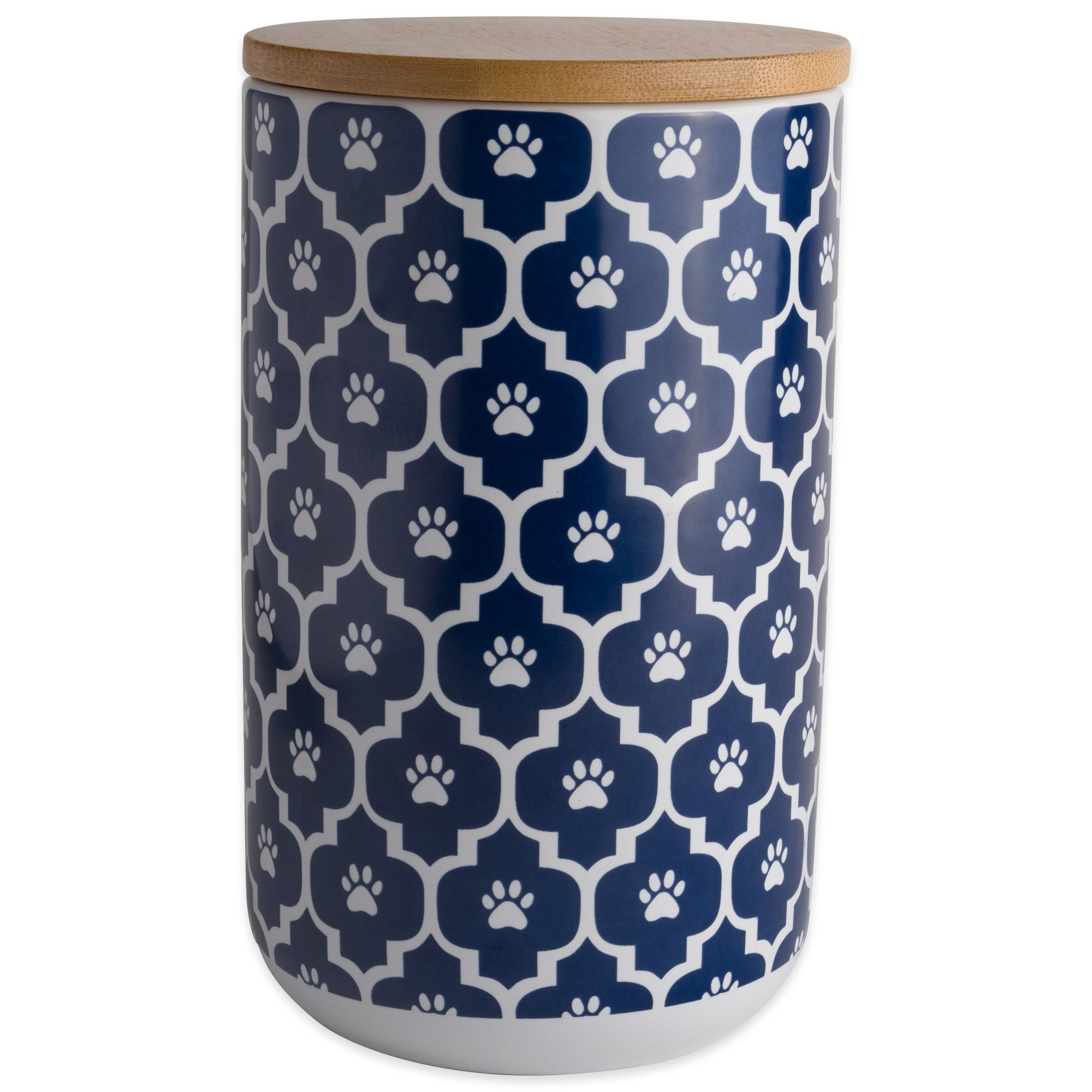 Bone Dry DII Ceramic Pet Treat Storage Canister with Air Tight Lid 4''(Dia) x 6.5'' (H), Perfect Food and Treat Jar for Dogs and Cats-Nautical Blue Paw Lattice