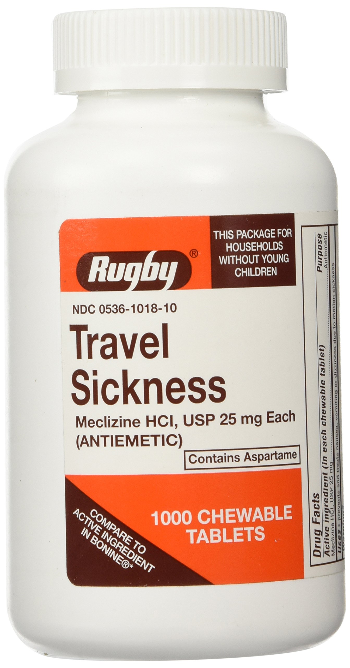 Meclizine Chewable Tablets - 25mg - Bottle of 1000 by Watson Rugby