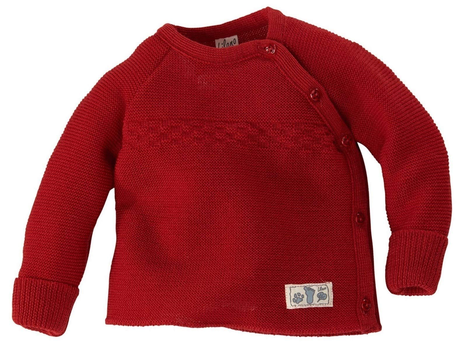 Lilano 100% Organic Merino Wool Baby Knitted Sweater [776216]. Made in Germany. (50/56 (0-3 Months), Red) by Lilano