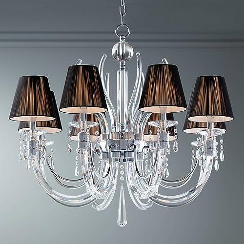 Derry Street Chrome Large Chandelier 32″ Wide Crystal Arm Black Silk Shades 8-Light Fixture - a good cheap living room chandelier