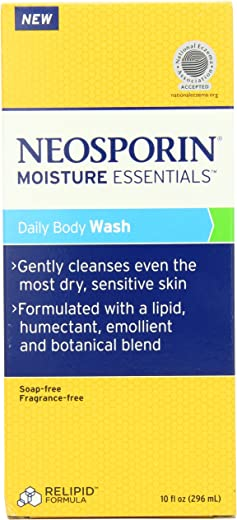 Neosporin Essentials Moisture Body Wash, Soap Free, Fragrance Free, 10 Ounce