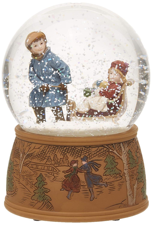★日本の職人技★ Musicbox the Kingdom Snow Sled B014L0ZID8 Globe with a回転シーンin which a Boy with a girl pulls the Sled Plays aクリスマスCarol装飾アイテム B014L0ZID8, ジョウボウグン:937bdda2 --- irlandskayaliteratura.org