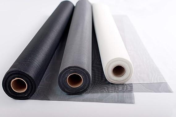 Teso - Mosquitera de fibra de vidrio a corte, color negro, gris o blanco, de alta calidad y sin deshilacharse al cortar, versátil, resistente a los rayos UV y resistente a la