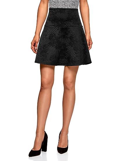 oodji Ultra Mujer Falda de Punto de Tejido Texturizado: Amazon.es ...
