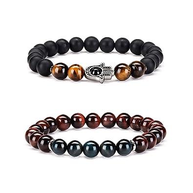 Byson Men Women 8mm Natural Stone Tiger Eye Beads Bracelet Set Lava Rock Diffuser Bracelet Elastic Yoga Bracelet Bangle Touch Long Distance ...