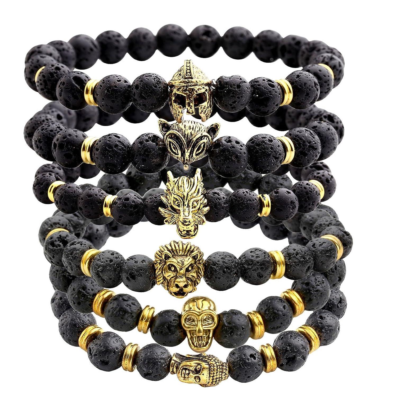 Amazon.com: JOVIVI Jewelry 6pc Men Women 8mm Mix Style Gold Plated ...