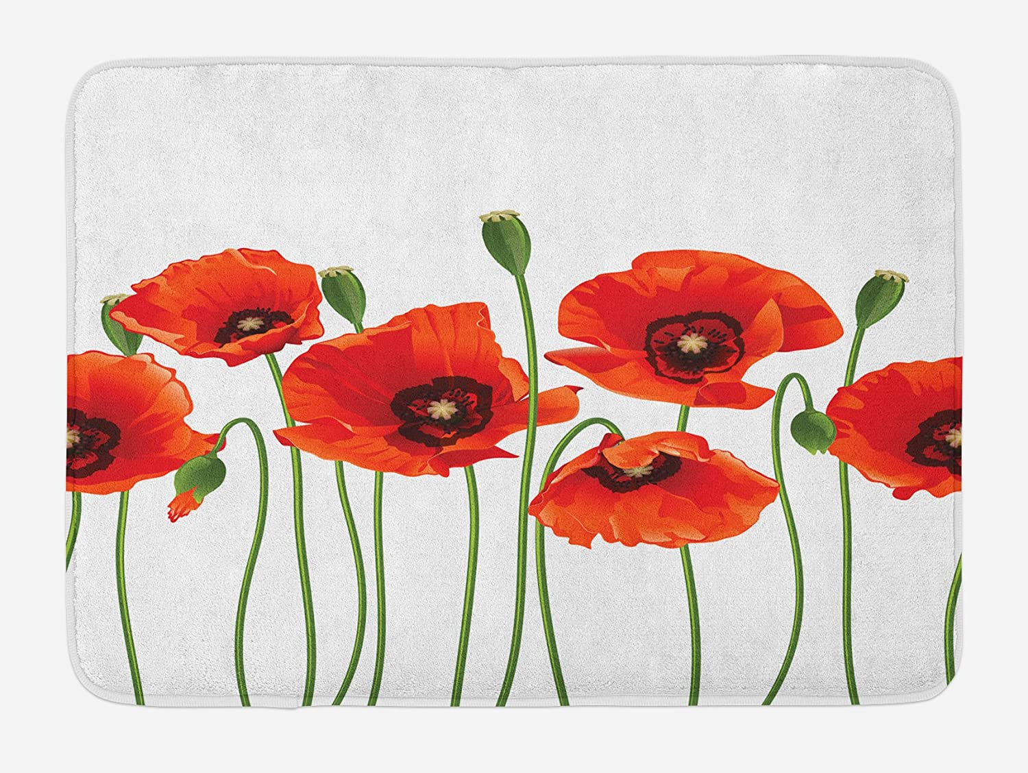 Ambesonne Floral Bath Mat, Poppies of Spring Season Pastoral Flowers Botany Bouquet Field Nature Theme Art, Plush Bathroom Decor Mat with Non Slip Backing, 29.5