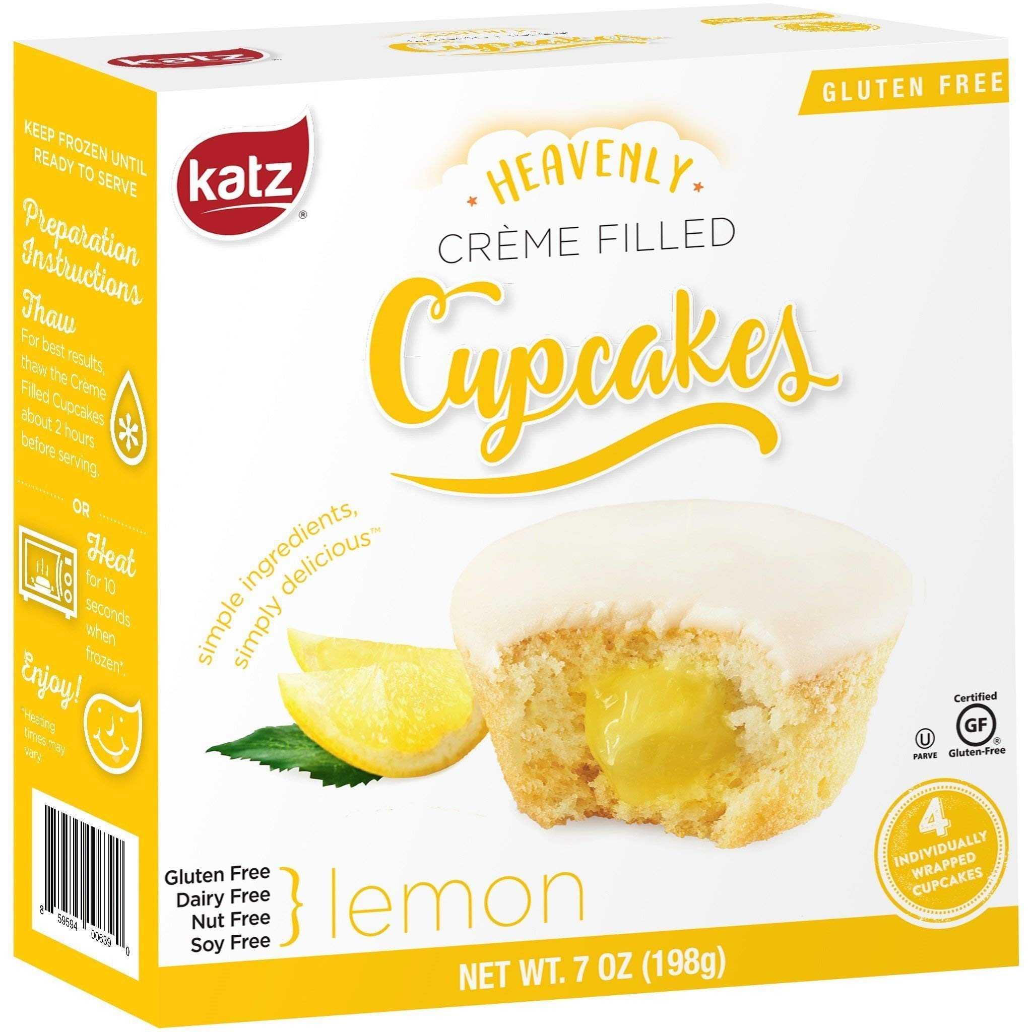 Katz Gluten Free Lemon Crème Filled Cupcakes | Dairy, Nut, Soy and Gluten Free | Kosher (6 Packs of 4 Crème Cupcakes, 7 Ounce Each) by Katz Gluten Free