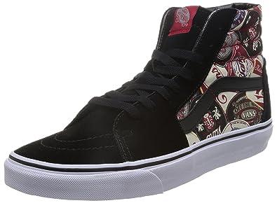 f19494e612 Vans Unisex Sk8-Hi (Labels) Skate Shoe-Labels Black-9.5