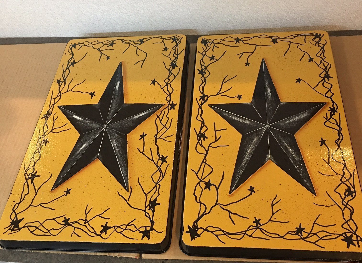 Texas Rustic Barn Star Stove Burner Cover Set Antique Gold by Primitive Country Loft House