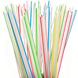 Extra Wide Fat Boba Straws, 1/2 Jumbo Plastic Striped Smoothie Straws for Bubble Tea and Milkshake, Pack of 100