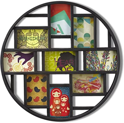 Umbra Luna 9-Opening 4x6 Collage Wall Frame - DIY Gallery Style Multi Picture Photo Collage Frame, Displays nine 4 by 6 inch Photos, Illustrations, Art, Graphic Text & More, Black