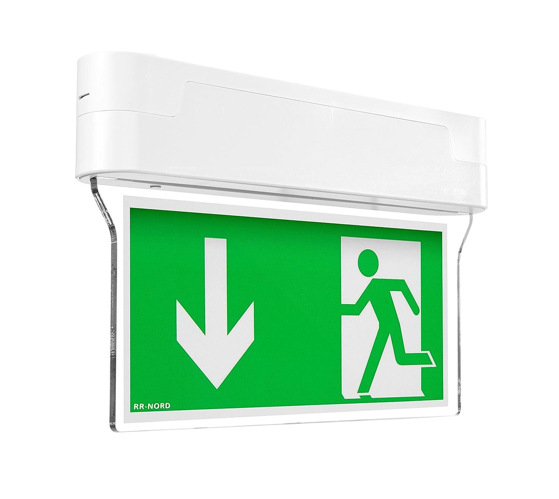 Notleuchte LED IP44 Decke Wand Notbeleuchtung Rettungszeichenleuchte Fluchtwegleuchte Notlicht Brandschutzzeichen Rettungszeichen (Pfeil nach rechts oben) RR-NORD