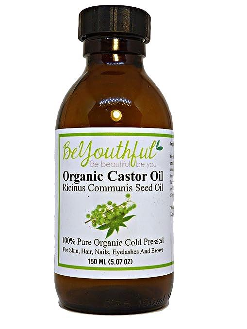 Aceite de ricino BeYouthful 100% puro, orgánico para cabello, piel