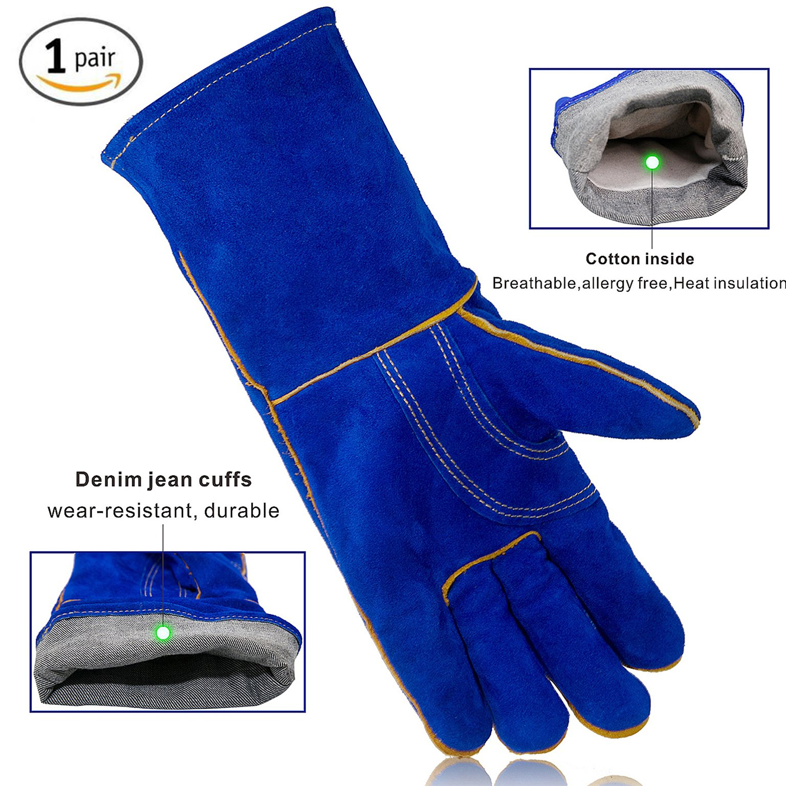 KIM YUAN Leather Welding Gloves - Heat/Fire Resistant, Perfect for Gardening/Oven/Grill/Mig/Fireplace/Stove/Pot Holder/ Tig Welder/Animal Handling/BBQ - 14inches by KIM YUAN (Image #2)