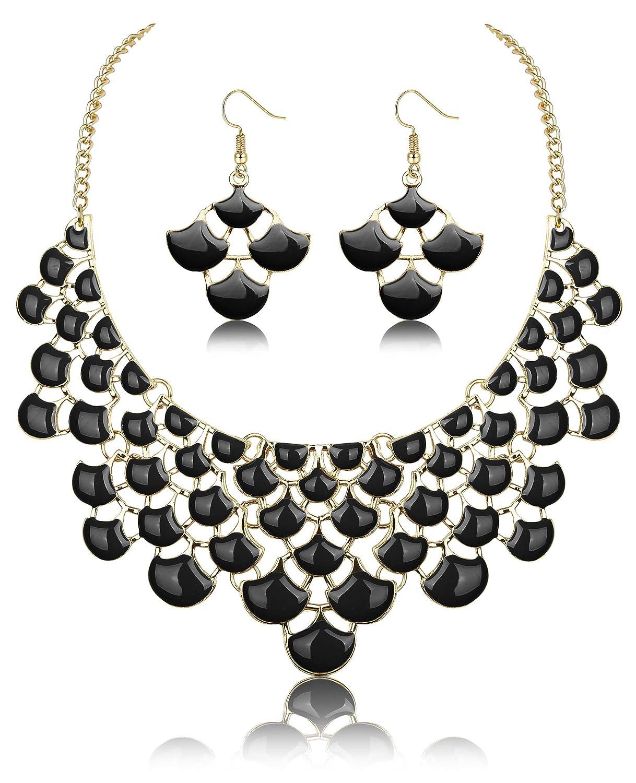 Thunaraz Fashion Jewelry Set Women Necklace Statement Necklace Earrings Jewelry