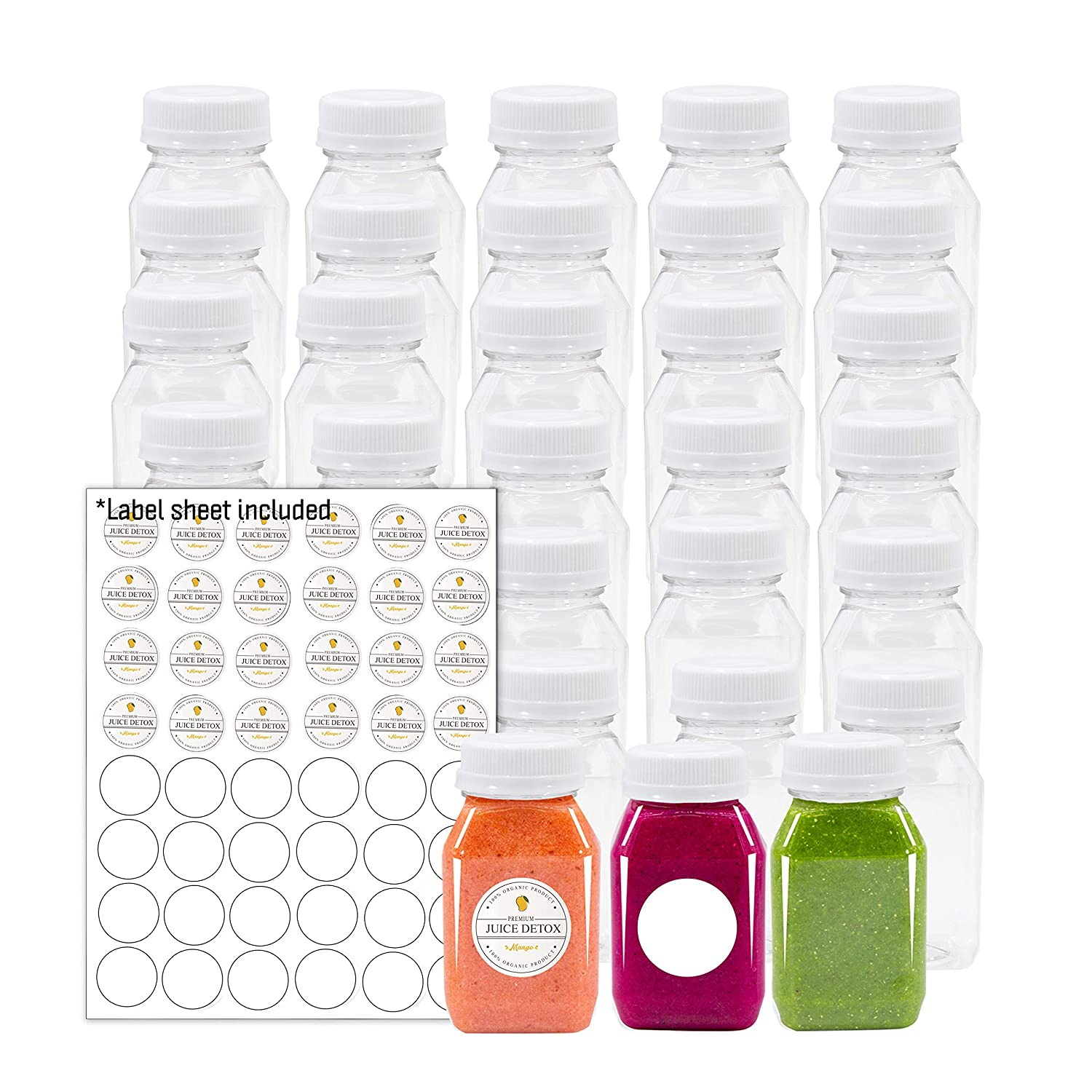 Empty PET Plastic Juice Bottles - Pack of 35 Reusable Clear Disposable Milk Bulk Containers with Labels and Tamper Evident Caps (4 OZ, White)