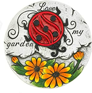 Summerfield Terrace 10018532 Sunflower Lady Bug Garden Stepping Stone, Multicolor
