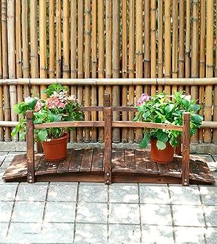 Zengai Maquina De Flores De Madera Jardin Pequeno Puente Madera Al