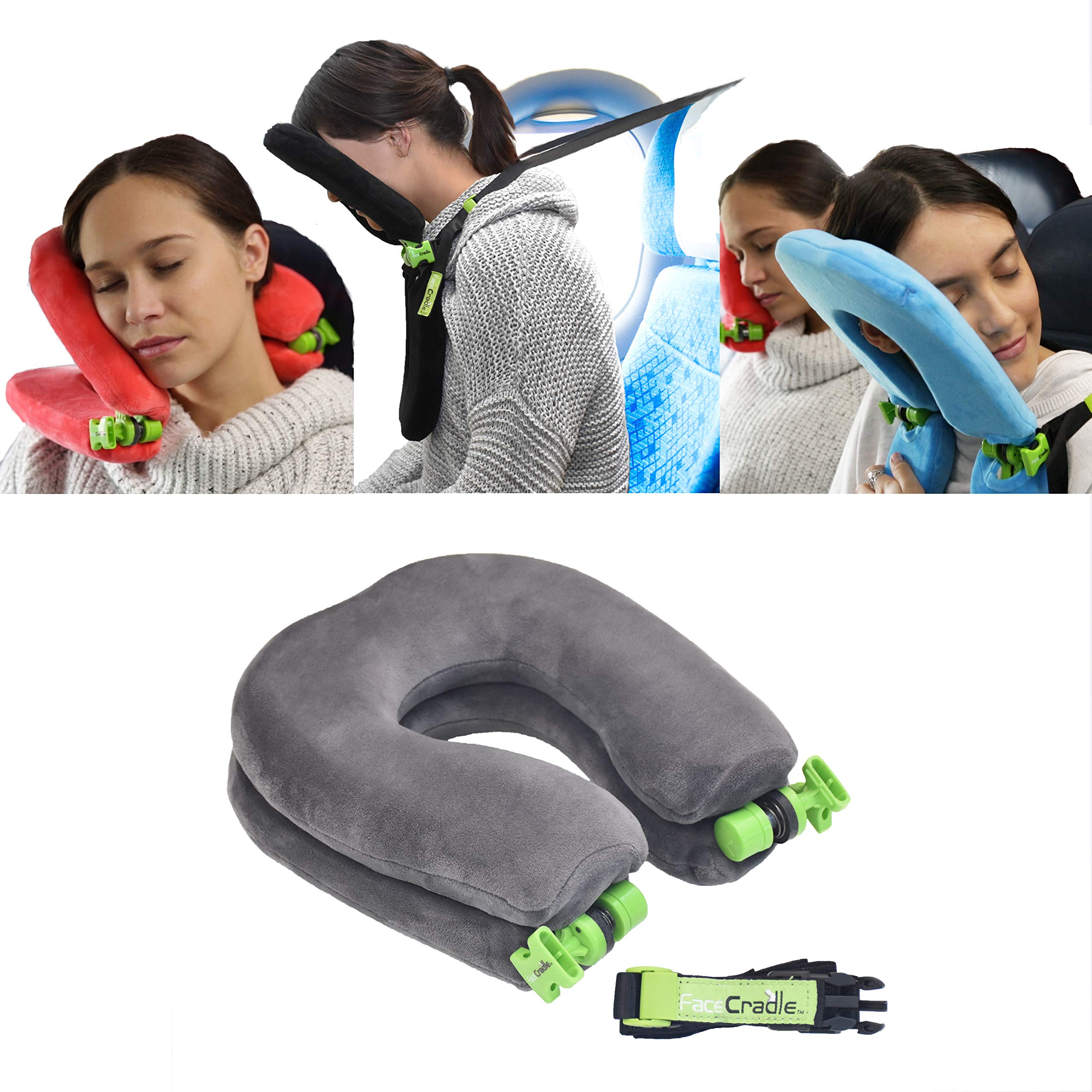 FaceCradle - Latest Model, 5 Modes Plus, Multi Function, Better Neck Support,Sleep Forward for Travel on Plane, car, Bus, Train or for nap on Any Table. (Grey) by FaceCradle