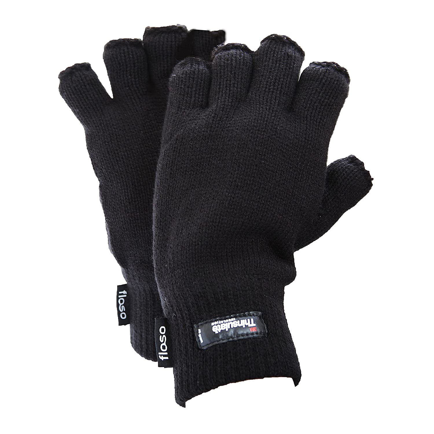Fingerless gloves thinsulate - Floso Mens Thinsulate Thermal Fingerless Gloves 3m 40g One Size Fits All Black At Amazon Men S Clothing Store Cold Weather Gloves