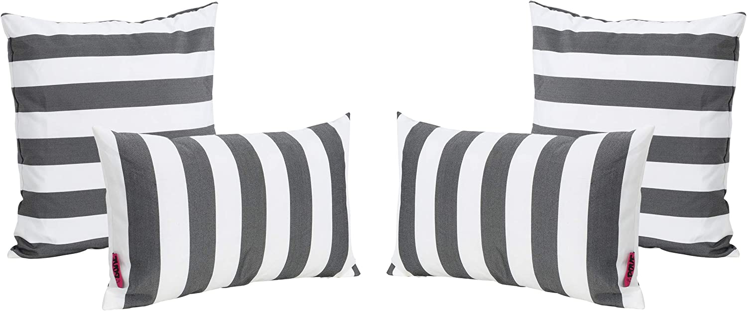 Christopher Knight Home La Jolla Outdoor Black and White Striped Water Resistant Square and Re