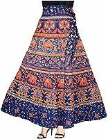 Eshopitude multi color hand block designer jaipuri print wrap around long skirt for women