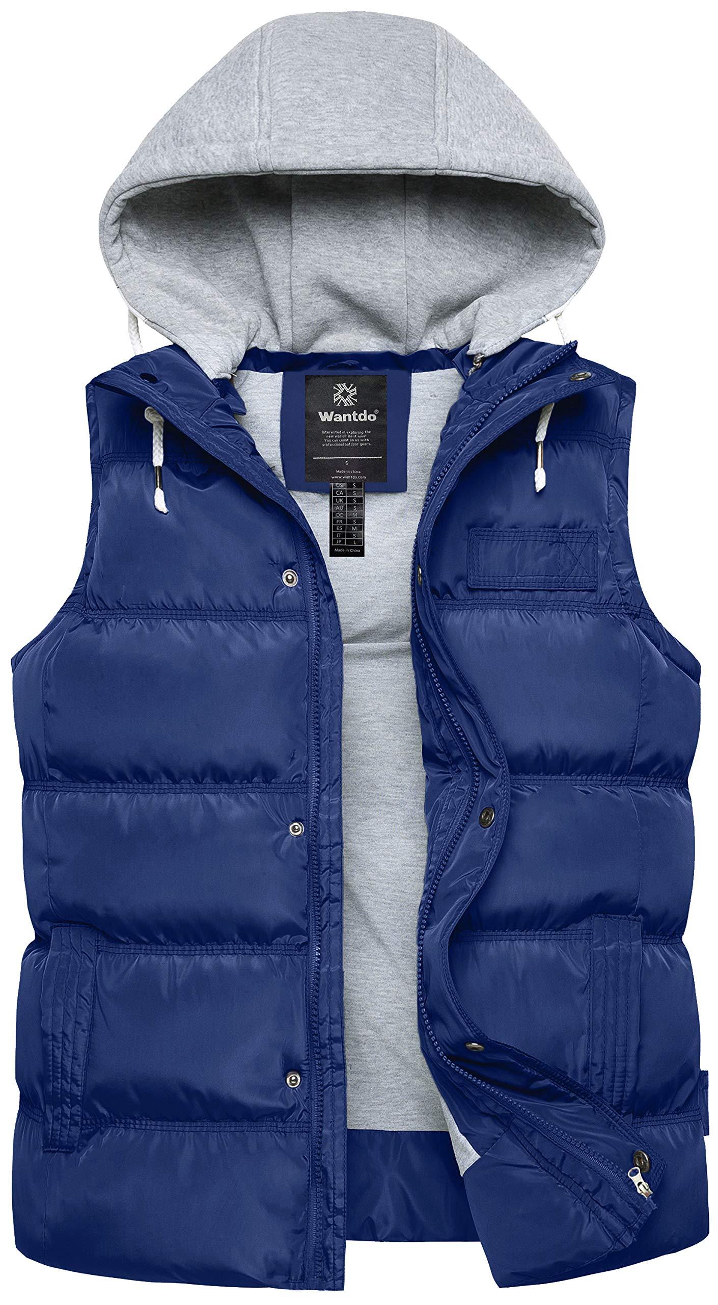 Wantdo Women's Windproof Winter Heated Vest Hooded Puffer Coat Small Blue by Wantdo