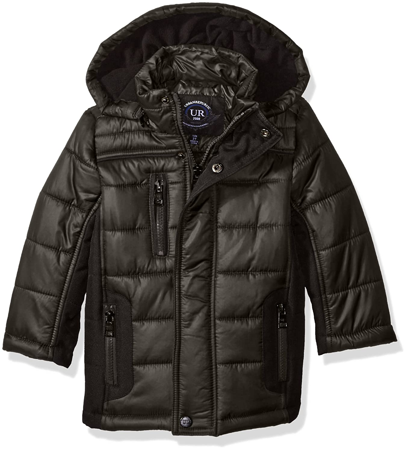 Urban Republic Baby Boys' Matt Ciree Puffer Jet with 3 Zip Pockets and Z Off Hoodie 6130I