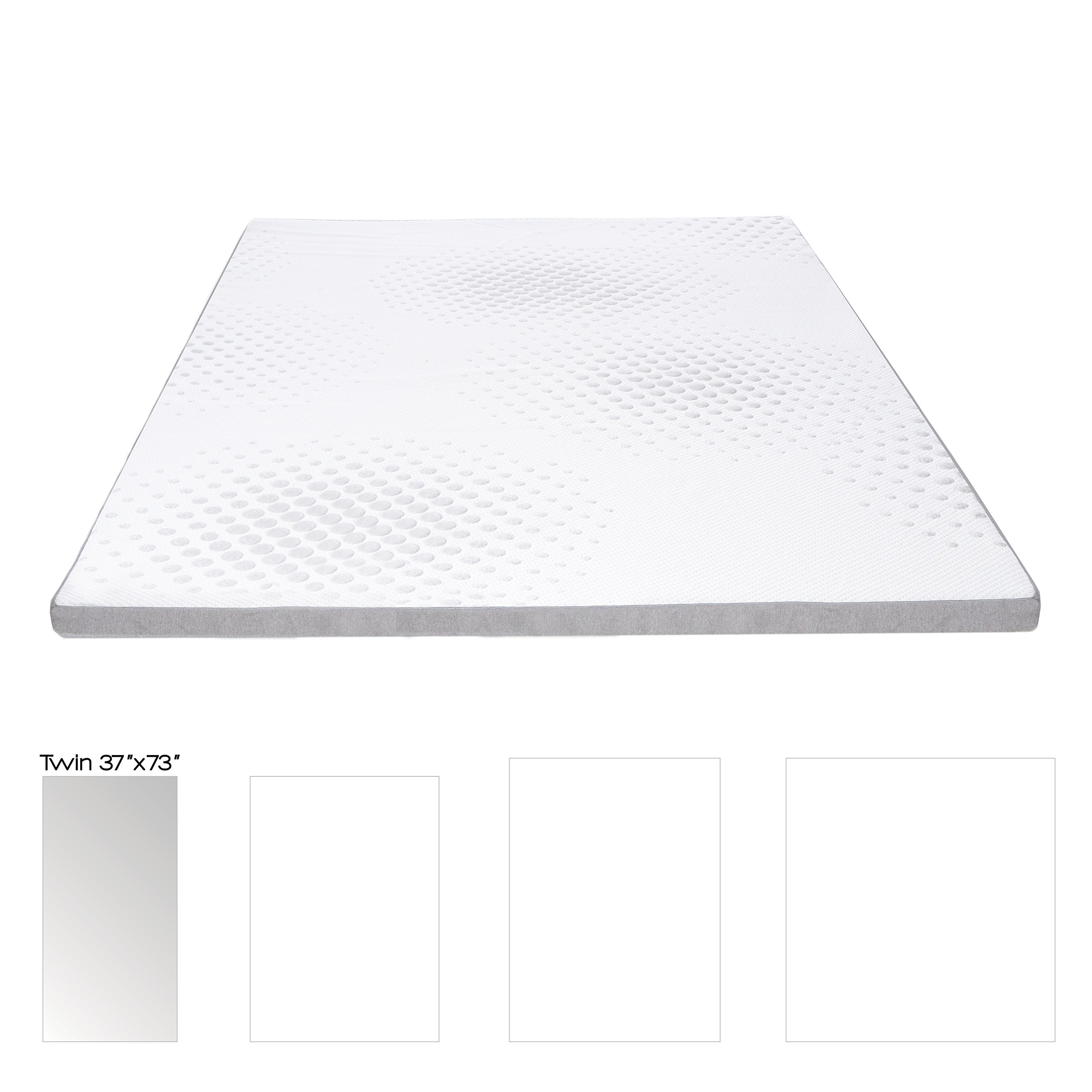 Milliard 2-inch Gel Memory Foam Mattress Topper - Featuring a Removable Washable Soft Bamboo Cover - Twin - 73''x37''x2