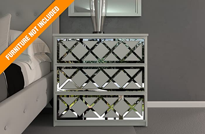 HomeArtDecor | Almada Lattice Fretwork | Suitable for IKEA Malm | High Quality Overlay | Color: PVC White/Paintable, Golden Mirror, Silver Mirror, Brushed Silver | Furniture Decoration | Home Décor
