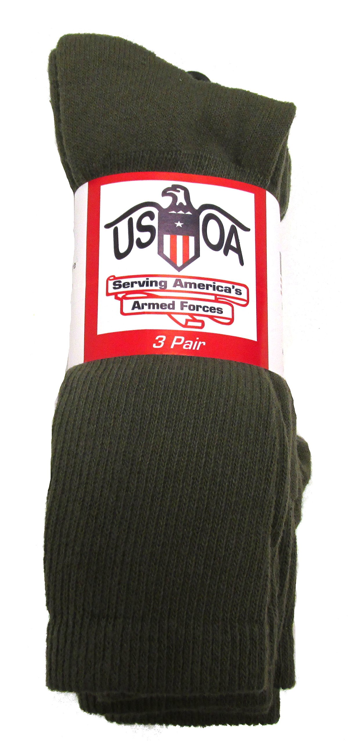 Men's Military Boot Socks OLIVE DRAB - 3 PAIR - LARGE by USOA