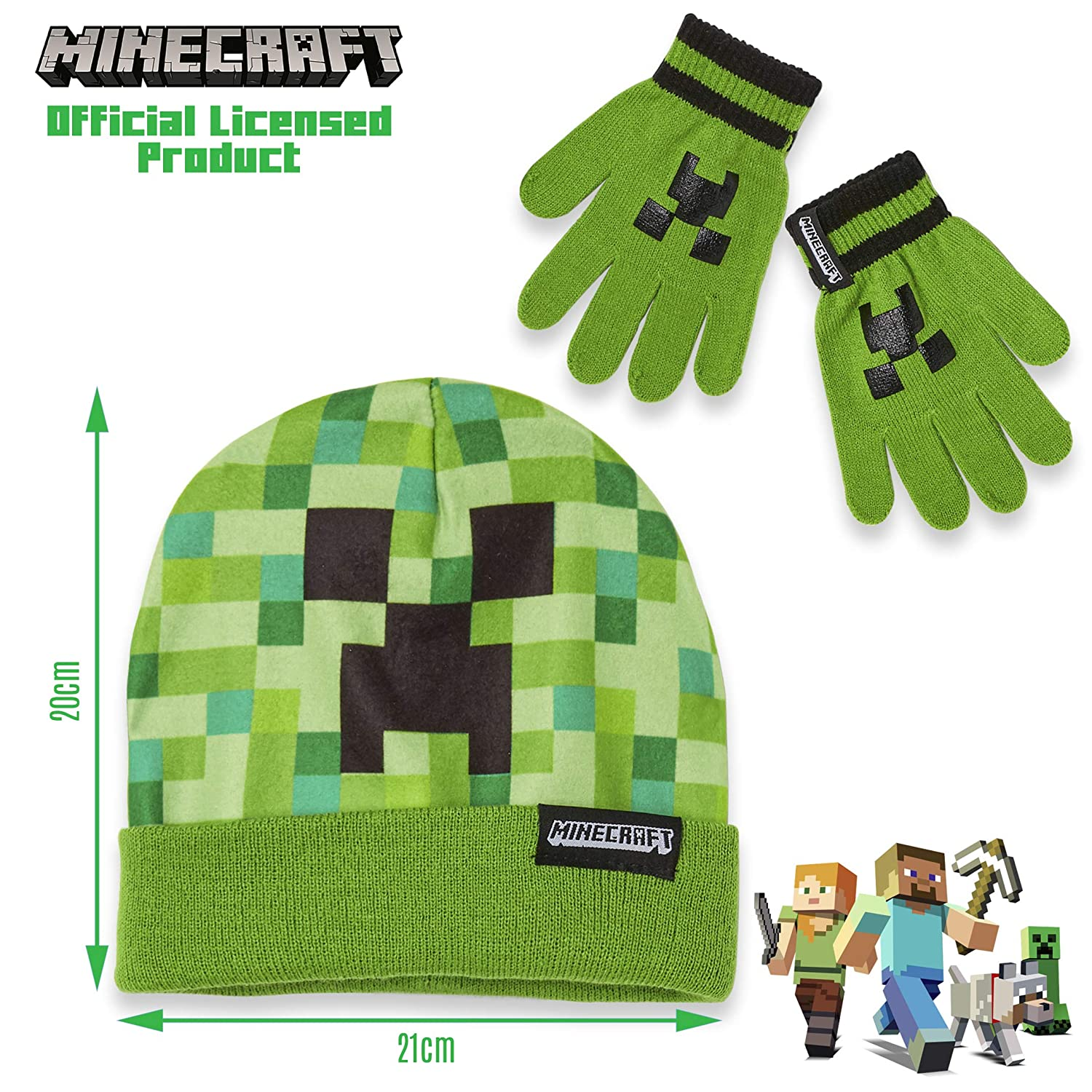 Minecraft Hat And Gloves For Boys Official Minecraft Merchandise Super Soft and Comfortable Kids Hat Green Beanie Hat Featuring Creeper Pixel Design Great Gaming Gift Idea for Boys or Girls