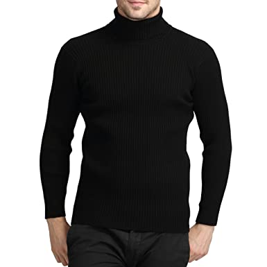 abb51d315 Jiuhila Mens Casual Wool Cashmere Knitted Sweater Long Sleeve Turtleneck  Pullover Tops(Black,XS