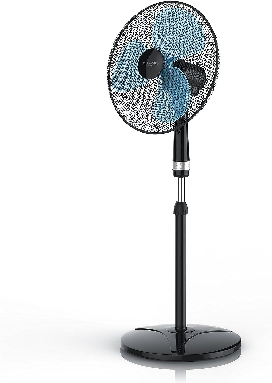 Brandson - 40cm Ventilador de pie - Oscilación Aprox. 85 Grado - 3 Niveles de Potencia - 50 W - Flujo de Aire Elevado - Modelo 2019 - Negro