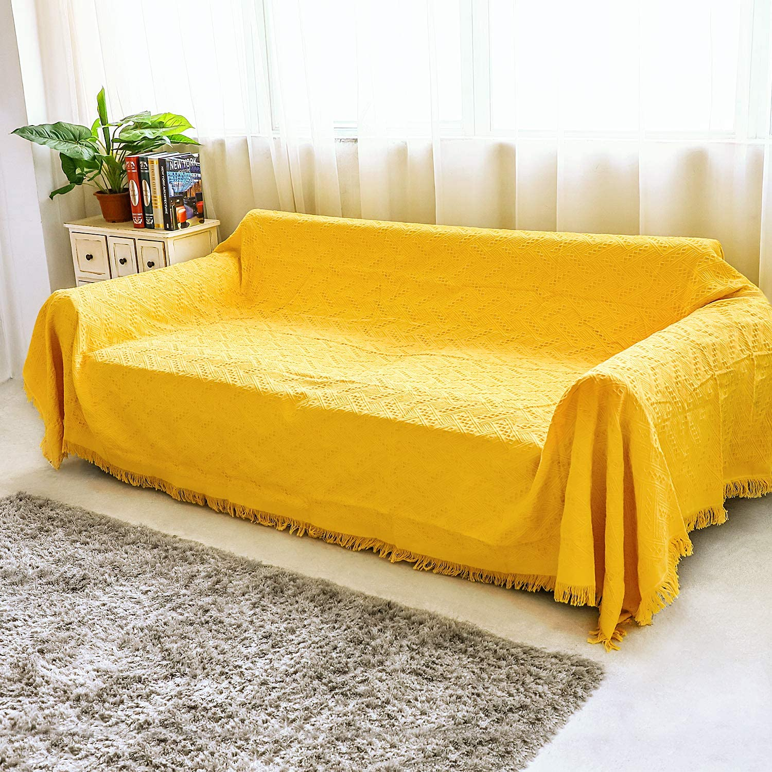 HOUSE DAY Sofa Slipcovers Couch Slip Cover, Soft Lightweight Throw Blanket, Decorative Knitted with Fringe, Sofa Couch Covers for 3 Cushion Couch, Linen Couch Cover Couch Protector (Yellow, Large)