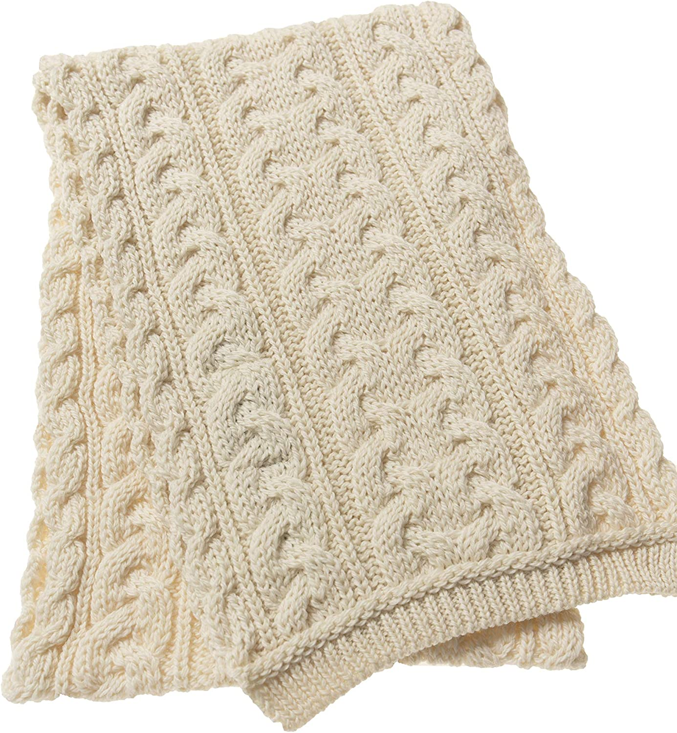 Aran Crafts Cable Knit Chunky Scarf 100/% Merino Wool