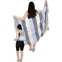 One's & Unique - Beach Bag & Towel Combo 100% Cotton, 100x180 cm Turkish Beach Towel with Its Zippy Pocket, Peshtemal…